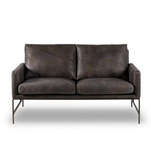 Thomas Bina Vanessa 2 Seater Sofa - Destroyed Black Leather