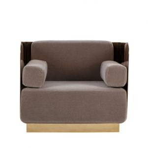 Kelly Hoppen Vinci Occasional Chair - Mohair / Mirrored Brass
