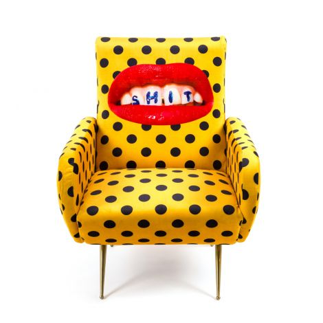 Upholstered Designer SHIT Armchair - Wears Toiletpaper