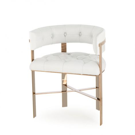 Kelly Hoppen Tufted Art Dining Chair - White Leather/Mirrored Brass