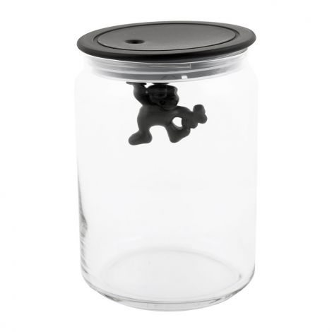 Gianni Glass Storage Jar - Black-Medium