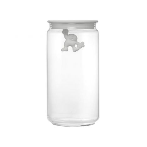 Gianni Glass Storage Jar - White - Medium