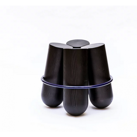 LC020101-Black stained beech & shiny lacquered blue ring
