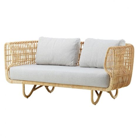 Cane-Line Nest Sofa Natural Rattan Off White Fabric Cushions
