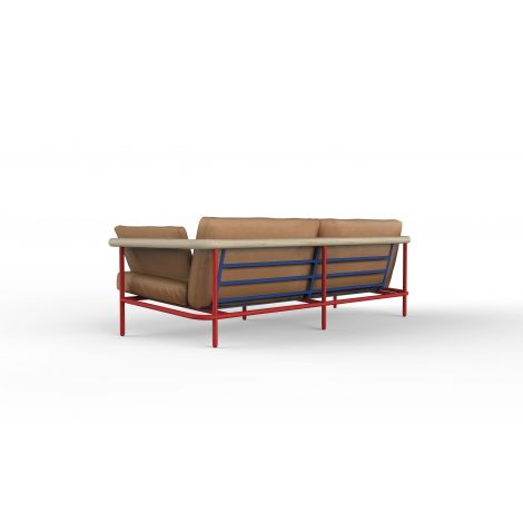 LC310201-2 seater-natural grain full aniline leather-Red&Blue structure
